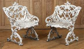 PAIR CAST ALUMINUM SLEIGH FORM GARDEN SEATS