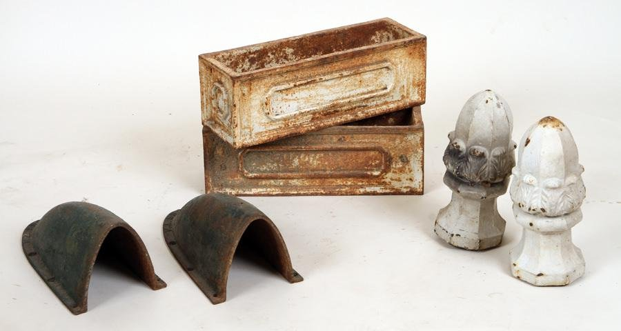 SIX 19TH C. CAST IRON ARCHITECTURAL GARDEN ITEMS