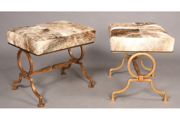 4: MODERN PR WROUGHT IRON BENCHES COWHIDE GILT