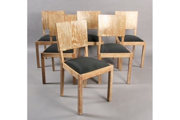 7: SET OF 6 MODERN LINED OAK DINING CHAIRS.