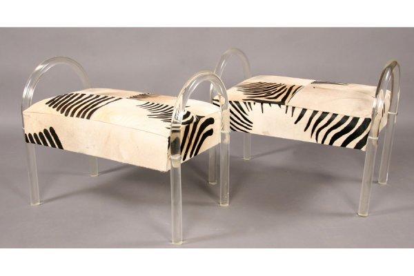 11: PR MODERN LUCITE BENCHES ZEBRA SEATS 1960