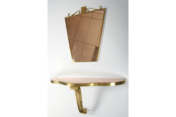 16: HOLLYWOOD REGENCY STYLE BRONZE CONSOLE AND MIRROR