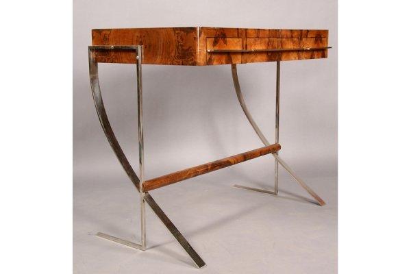 356: ART DECO STYLE CHROME BURLED WOOD DESK
