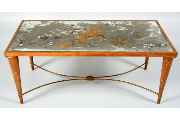 461: FRENCH ANDRE ARBUS STYLE OAK BRONZE COFFEE TABLE