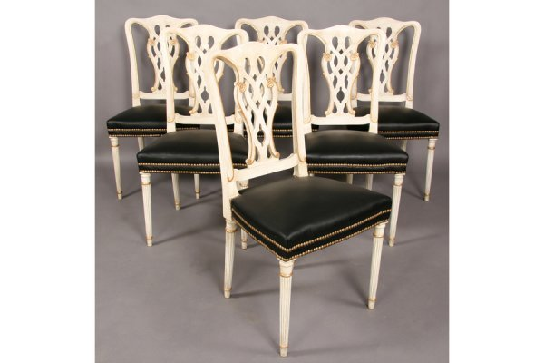 469: JANSEN SET 6 CHIPPENDALE STYLE GILT DINING CHAIRS