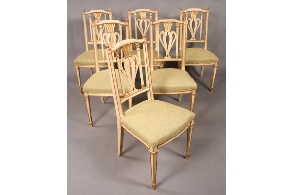 470: SET 10 FRENCH PAINTED GILT CARVED DINING CHAIRS