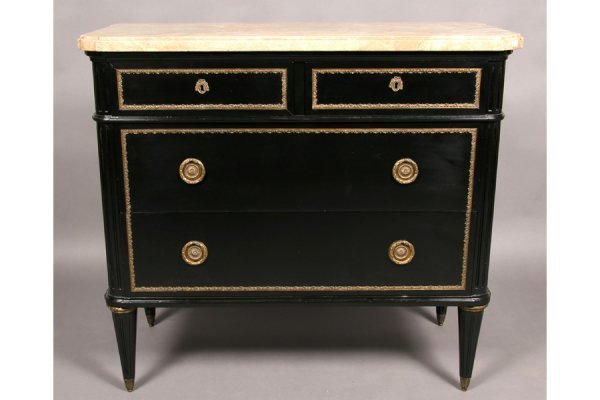 471: JANSEN STYLE ANTIQUE MARBLE BRONZE COMMODE CHEST