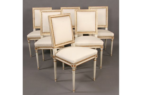 472: 6 ANTIQUE JANSEN GILT PAINTED DINING CHAIRS