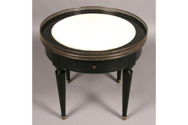 477: FRENCH LOUIS XVI STYLE EBONIZED MARBLE SIDE TABLE