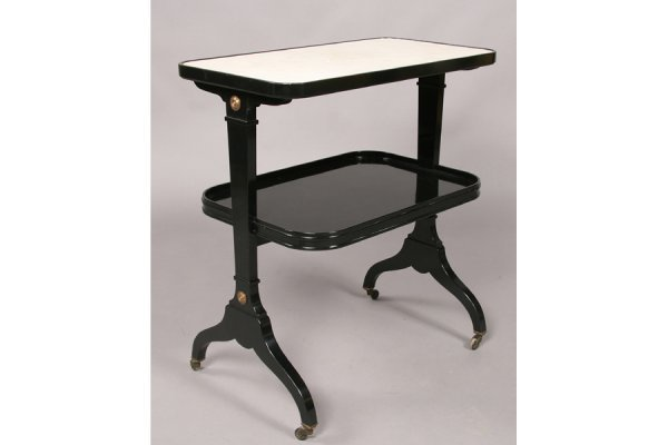 481: JANSEN EBONIZED TWO TIERED SIDE TABLE MARBLE TOP