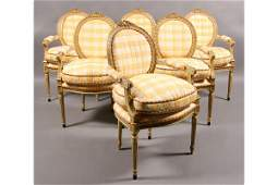 673: SET 8 FRENCH LOUIS XVI CARVED GILT DINING CHAIRS