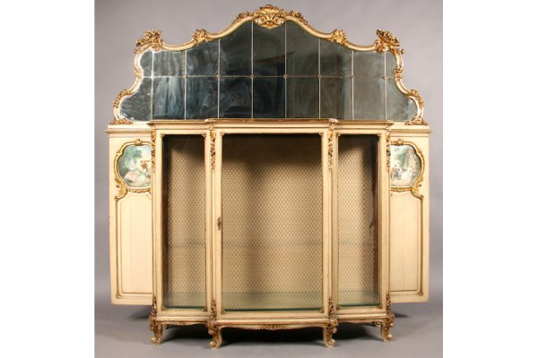 747: ANTIQUE FRENCH GILTWOOD CARVED PAINTED VITRINE