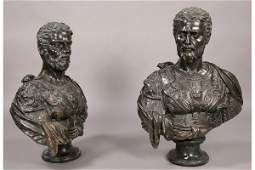 944 2 PC LOT  TWO LG CARVED MARBLE ROMAN STYLE BUSTS