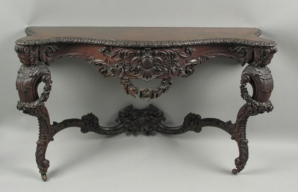 50071250: AMERICAN VICTORIAN ROSEWOOD FIGURAL CONSOLE T