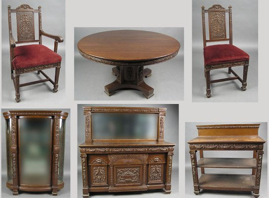 50071253: VICTORIAN OAK DINNING SET CHINA TABLE CHAIRS