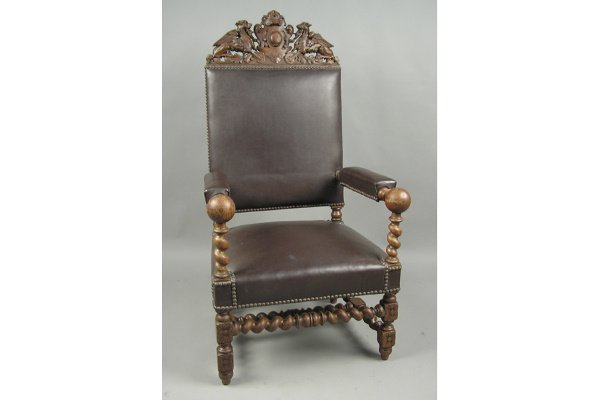 50071257: AMERICAN VICTORIAN OAK ARM CHAIR WITH GRIFFIN