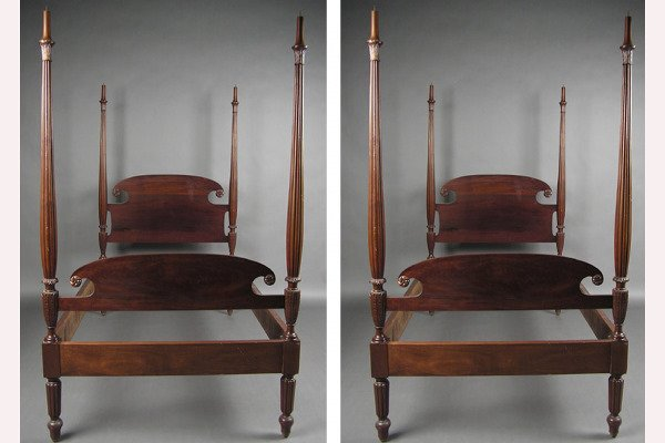 50071258: PAIR OF SOLID MAHOGANY ACANTHUS CARVED TWIN B