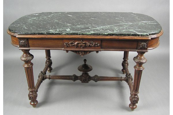 50071266: VICTORIAN ROSEWOOD MARBLE TABLE CARVED