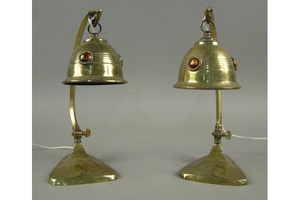 50071270: PAIR VICTORIAN STUDENT LAMPS JEWELS