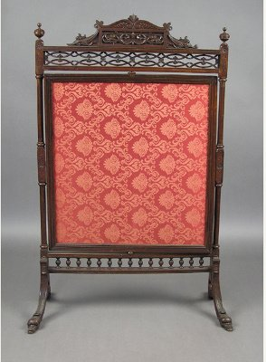 50071274: VICTORIAN ROSEWOOD REVOLVING FIRESCREEN IN TH