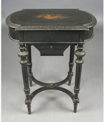 50071275:  VICTORIAN EBONIZED  SEWING STAND INLAID