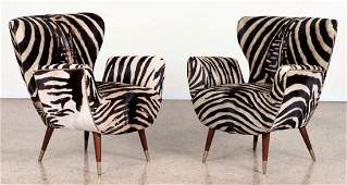 PAIR PAOLO BUFFA CLUB CHAIRS ZEBRA LEATHER C.1960