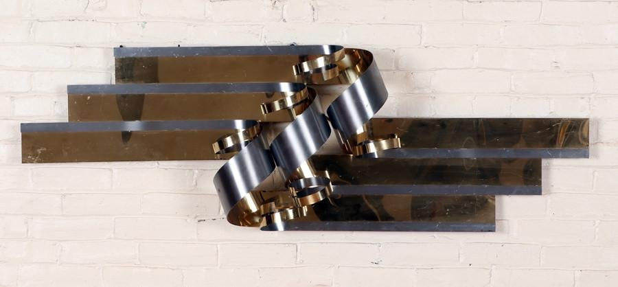 CURTIS JERE BRUSHED STEEL WALL SCULPTURE C.1980