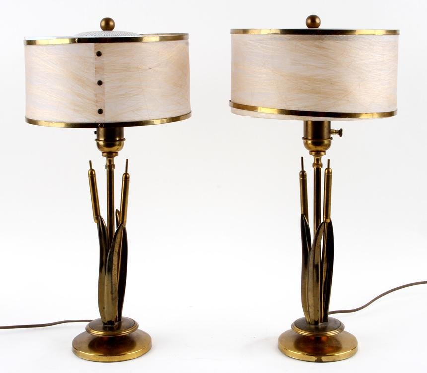PAIR BRASS TABLE LAMPS CYLINDER FORM SHADES 1970