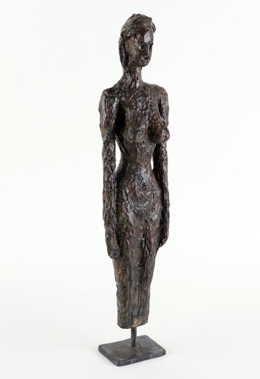 MID CENTURY MODERN BRONZE SCULPTURE NUDE WOMAN