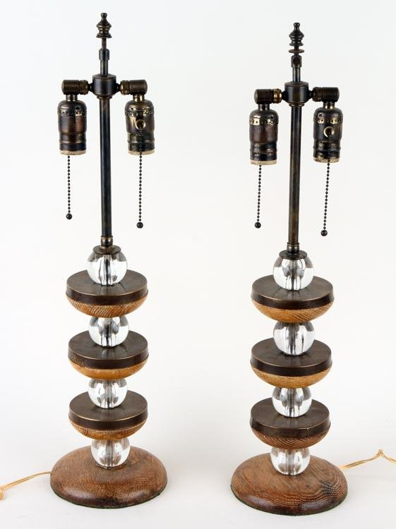 PAIR WOOD AND BRASS ADJUSTABLE TABLE LAMPS