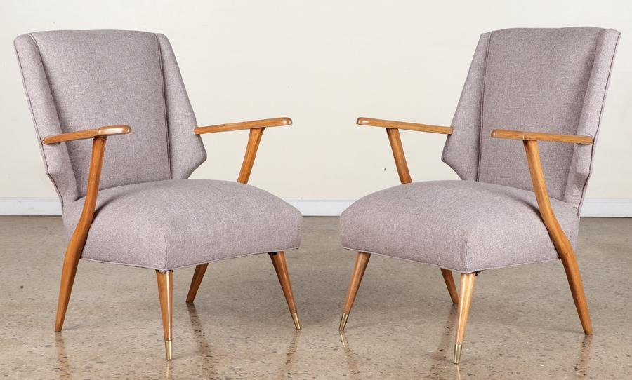 PAIR MID CENTURY MODERN OPEN ARM CHAIRS C.1960