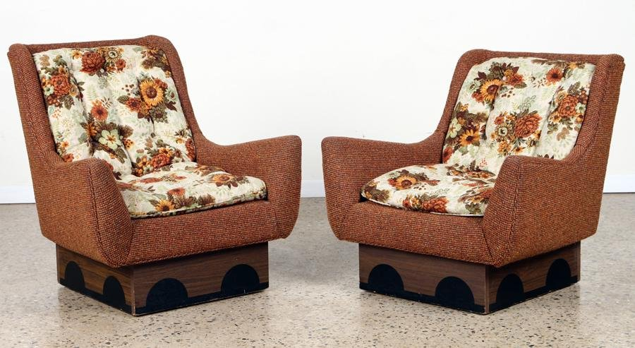 PAIR UPHOLSTERED LOUNGE CHAIRS C. 1960