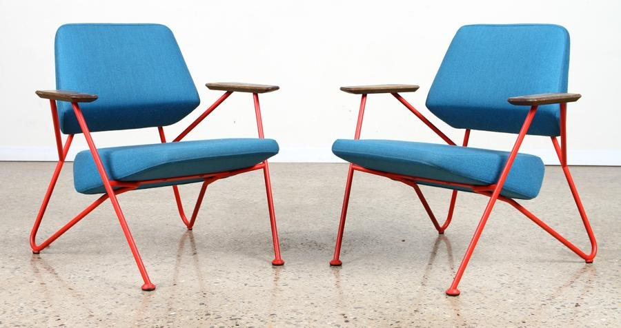 PAIR RED IRON LOUNGE CHAIRS W/ TEAL UPHOLSTERY