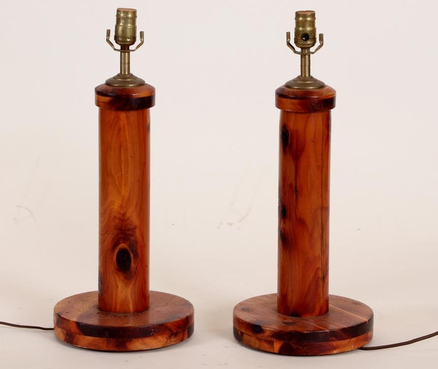 PAIR MID CENTURY MODERN PINE TABLE LAMPS