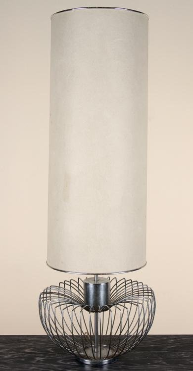 FRENCH CHROME MELON FORM LAMP FIBERGLASS SHADE