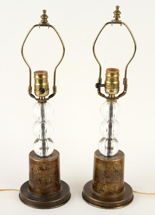 PAIR PETITE BRASS TABLE LAMPS GLASS SPHERES