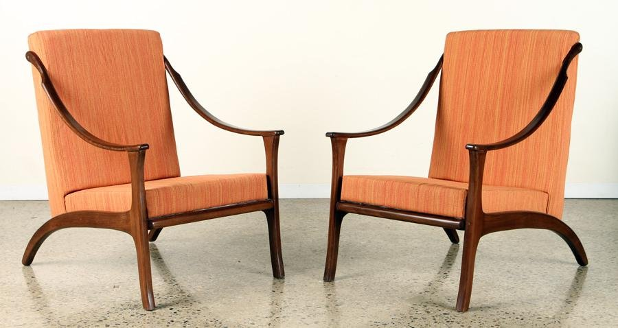 PAIR MID CENTURY MODERN LARGE OPEN ARM CHAIRS