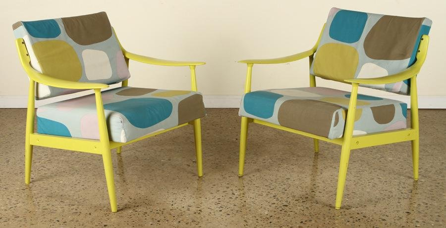 PAIR MODERN PAINTED OPEN ARM CHAIRS UPHOLSTERED