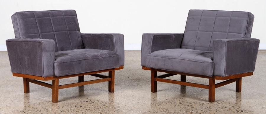 PAIR SLING BACK UPHOLSTERED ITALIAN LOUNGE CHAIRS