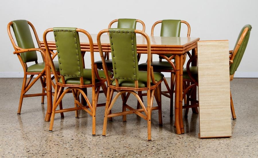 7 PIECE RATTAN SET LIME GREEN LEATHER C. 1950