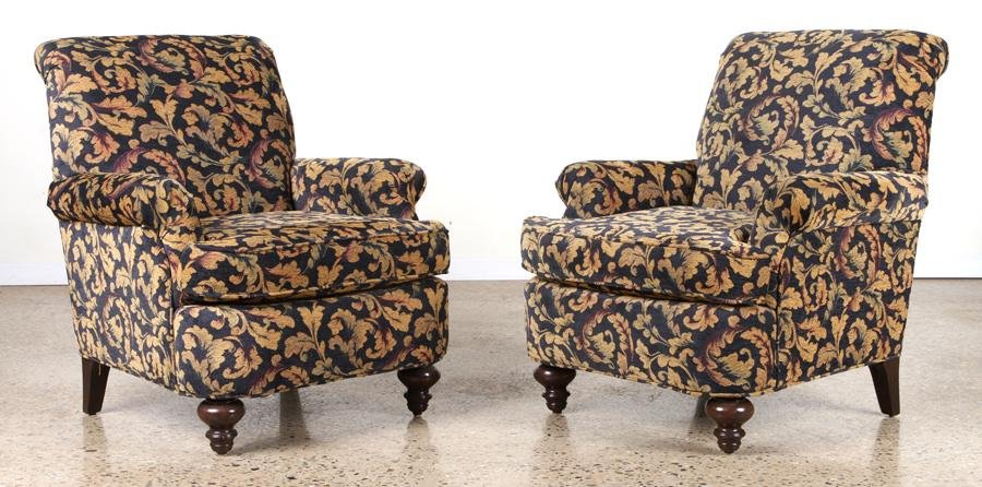 PAIR CONTEMPORARY UPHOLSTERED CLUB CHAIRS