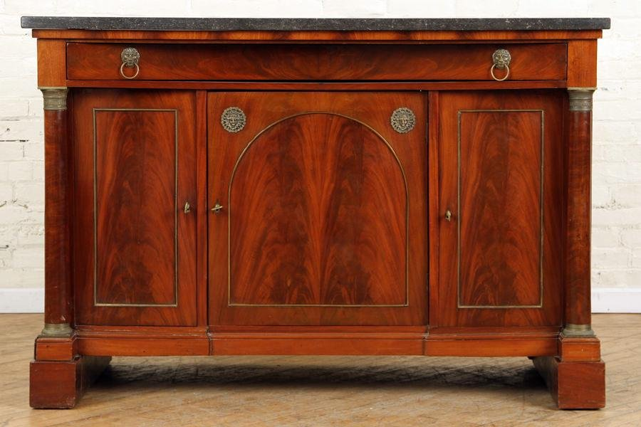 MARBLE TOP FRENCH FLAME MAHOGANY SERVER C.1880