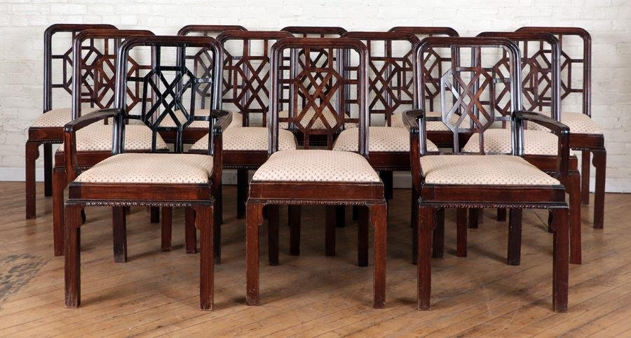 SET 12 CHINESE CHIPPENDALE STYLE DINING CHAIRS