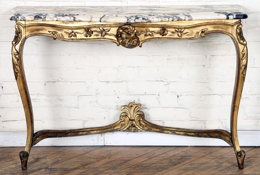 GILT WOOD CARVED FRENCH MARBLE TOP CONSOLE C.1930