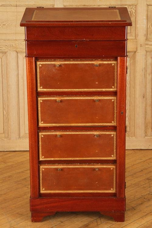 FRENCH MAHOGANY CARTONNIER LEATHER TOP LIFT LID