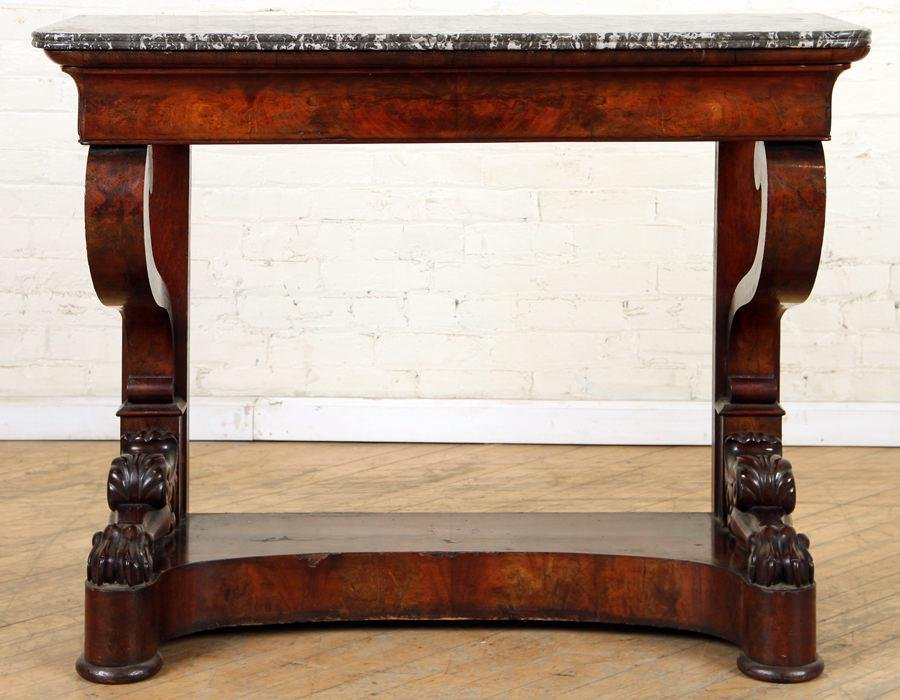 19TH C. MAHOGANY FRENCH EMPIRE MARBLE TOP CONSOLE