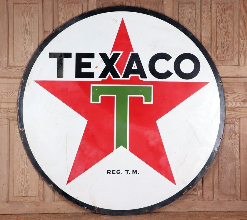 ROUND TEXACO DOUBLE SIDED PETROLIANA SIGN