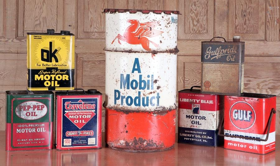 MOBIL GREASE DRUM & 6 ASSORTED OIL CANS