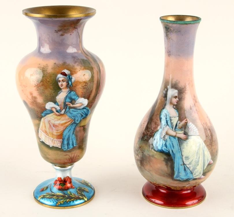 TWO 19TH C. FRENCH ENAMEL VASES GOBY AND NORY