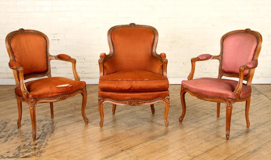 PAIR FRENCH OPEN ARM CHAIRS & CLOSED ARM CHAIR